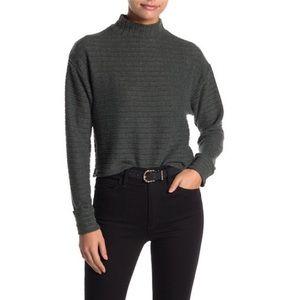Lush Long Sleeve Ribbed Brushed Mock Neck Sweater